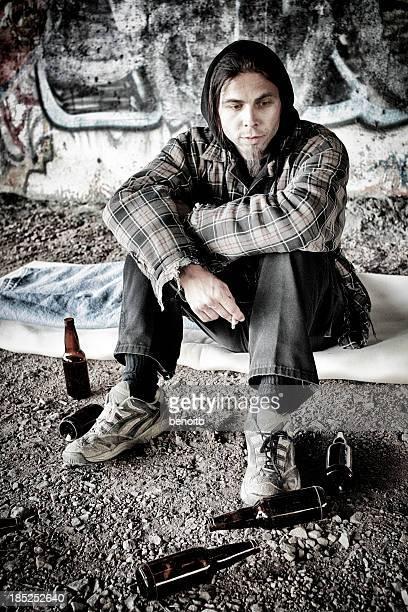 Homeless Man Smoking