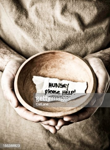 Homeless Man with Begging Bowl