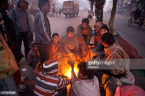 Homeless men in New Delhi, India