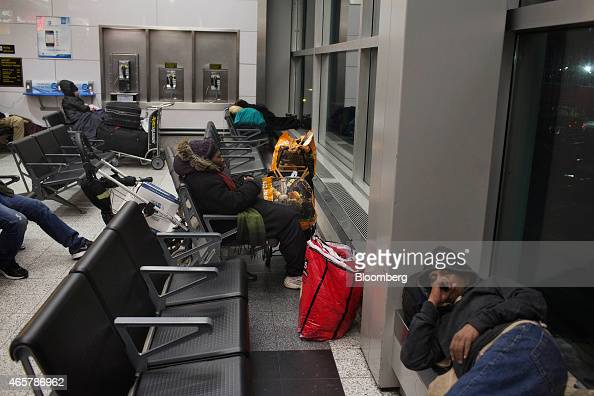 Homeless New Yorkers and travelers rest in Terminal B of LaGuardia Airport in New York on Friday March 6 2015 While the homeless population is bigger...