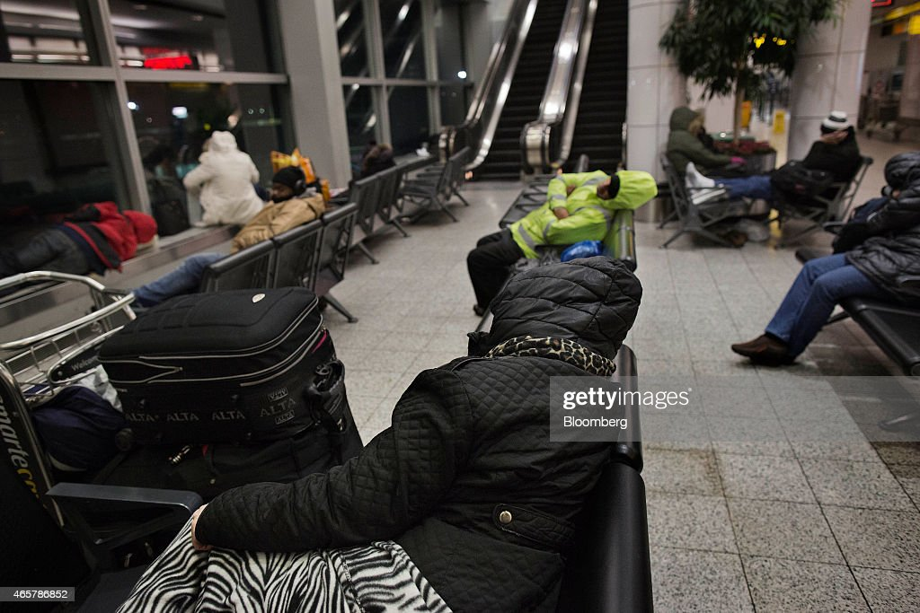 Homeless New Yorkers and travelers sleep in Terminal B of LaGuardia Airport in New York on Saturday March 7 2015 While the homeless population is...