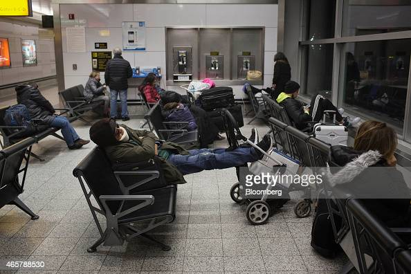 Homeless New Yorkers and travelers sleep in Terminal B of LaGuardia Airport in New York on Friday March 6 2015 While the homeless population is...