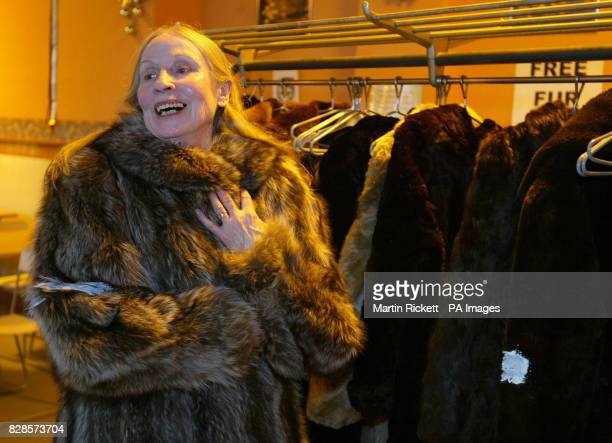 Homeless Peggy Bell wears one of the fur coats that are being handed out by PETA at the YMCA in Liverpool The animal welfare charity which used to...