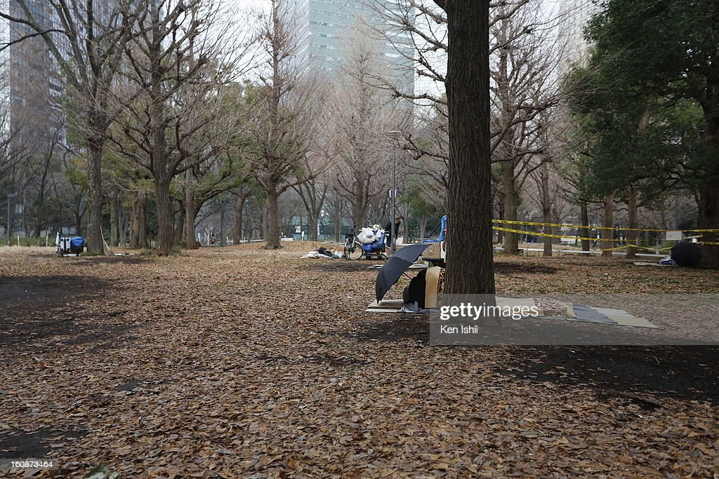 Homeless people set their own shelters at Shunjuku Central Park on February 7, 2013 in Tokyo, Japan. A recent servey shows Tokyo as the most expensive city in the world and Osaka ranked second.