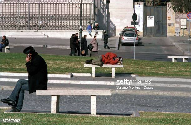 Homeless people sleeping in Piazza SGiovanni on February 11 2009 in Rome Italy