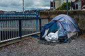 homeless tent by the river