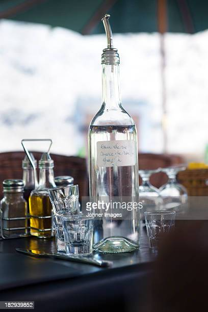 Homemade alcohol on table