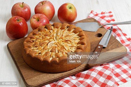 Homemade apple pie on white table : Stock Photo