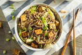 Homemade Asian Tofu Soba Noodle Bowl with Onions and Peanuts