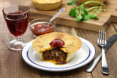 homemade aussie meat pie, close up