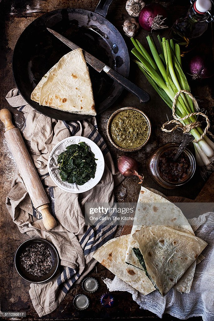 Homemade bolani and chutneys