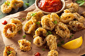 Homemade Breaded Fried Calamari with Marinara Sauce