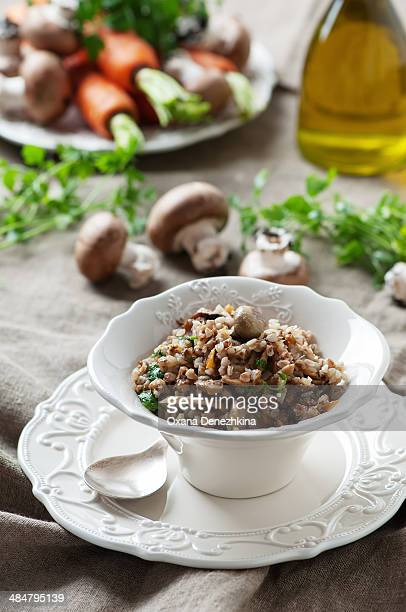 Homemade buckwheat with a mix of mushrooms