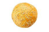 Homemade burger bun isolated on white background. Top view