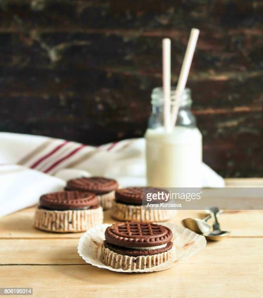 Homemade cakes with chocolate cookies and cream cheese, selective focus