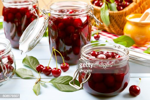 Homemade cherry compote : Stockfoto