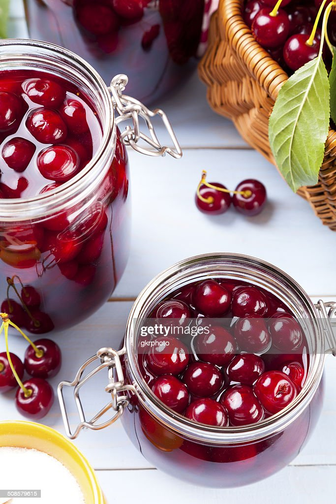 Homemade cherry compote : Stock Photo