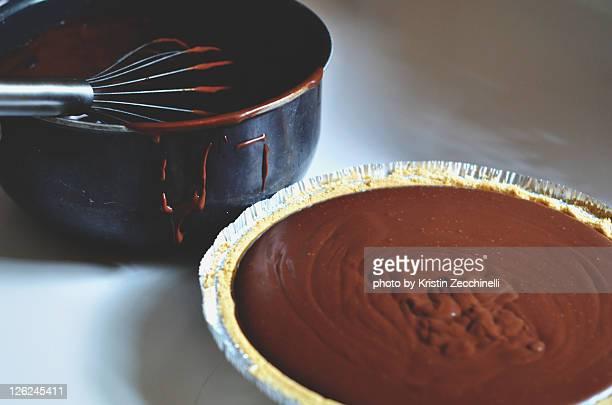 Homemade chocolate cream pie