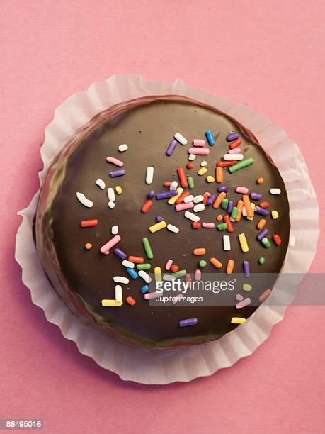 Homemade chocolate dessert with sprinkles