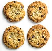 Homemade Cookies on white, overhead
