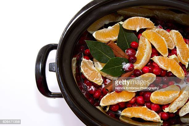 Homemade Cranberry Sauce simmering in a Crock Pot