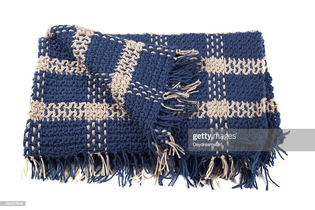 Homemade Crocheted Yarn Afghan Blanket Isolated on White Backgro