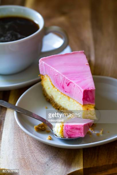 Homemade dessert CHEESECAKE WITH RASPBERRY MOUSSE