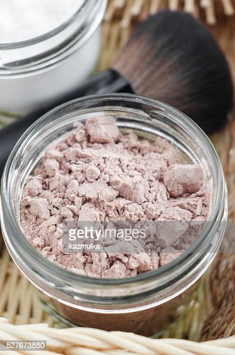 Homemade dry shampoo in a glass jar : Stock Photo