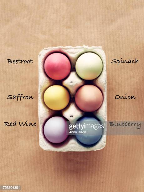 Homemade dyed Easter eggs with six organic colors. Debica, Poland