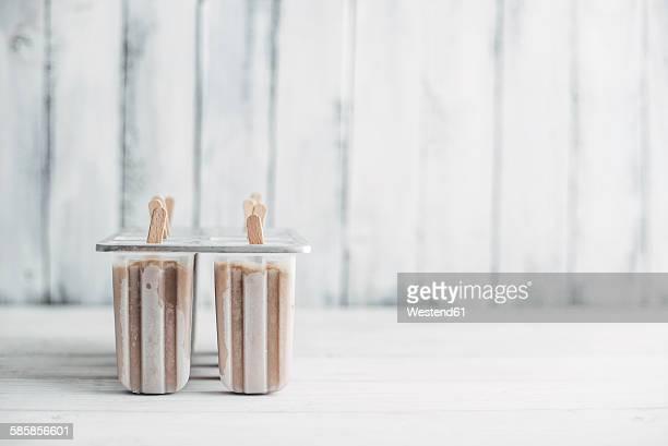 Homemade espresso and condensed milk popsicles