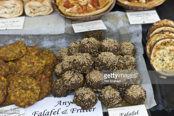 Homemade Falafel and sweetcorn fritters on sale at Farmers' Market