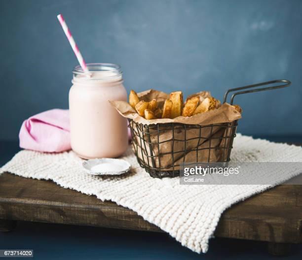 Homemade french fries and milkshake