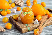 Ginger jam with lemon and kumquat. Herbal medicine, healthy food and natural products to support the immune system
