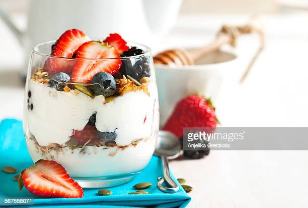Homemade granola with yogurt, berry and honey