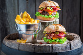 Homemade hamburger made of beef, cheese and vegetables