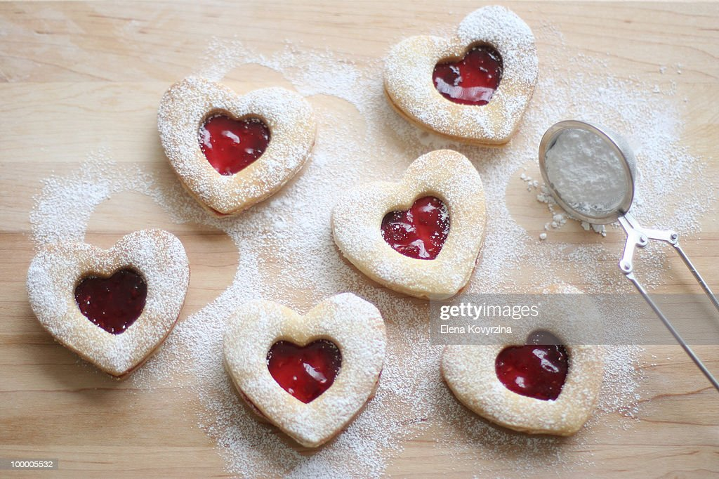 Homemade heart shaped shortbread cookies : Stock Photo