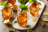 Homemade Iced Tea and Lemonade with Mint