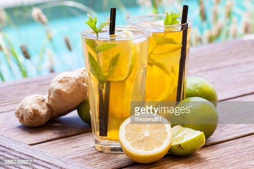 Homemade iced tea, lemonade with fresh ginger, lemon, lime and mint