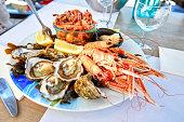 Homemade lunch plate of shellfish