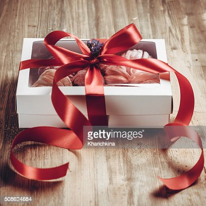Homemade marshmallow  Zephyr in box on a rustic wooden table. : Stock Photo