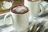 Homemade Microwave Chocolate Mug Brownies with Powdered Sugar