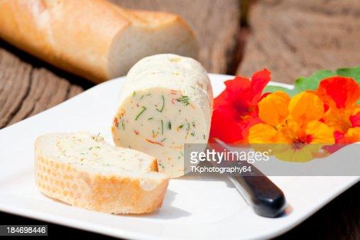 Homemade nasturtium herb butter : Stock Photo