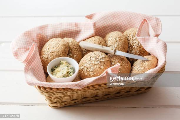 Homemade oat rolls with compound butter