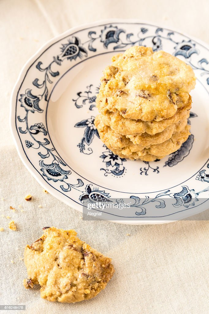 Homemade oats and nuts cookies : Stock Photo