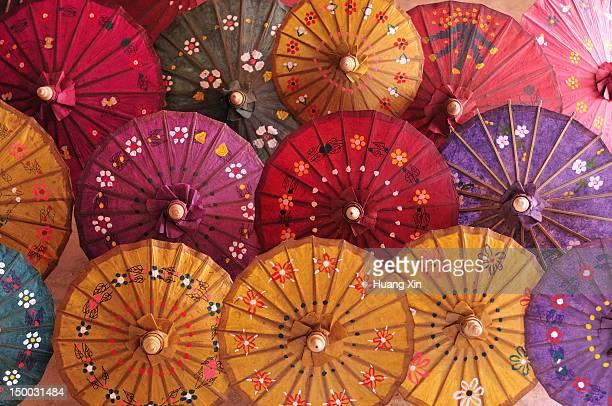 Homemade paper umbrellas