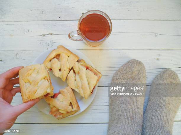 Homemade pie with cup of tea