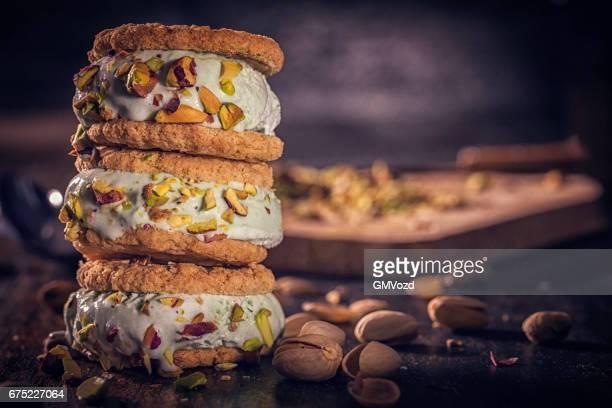 Homemade Pistachio Ice Cream Sandwich