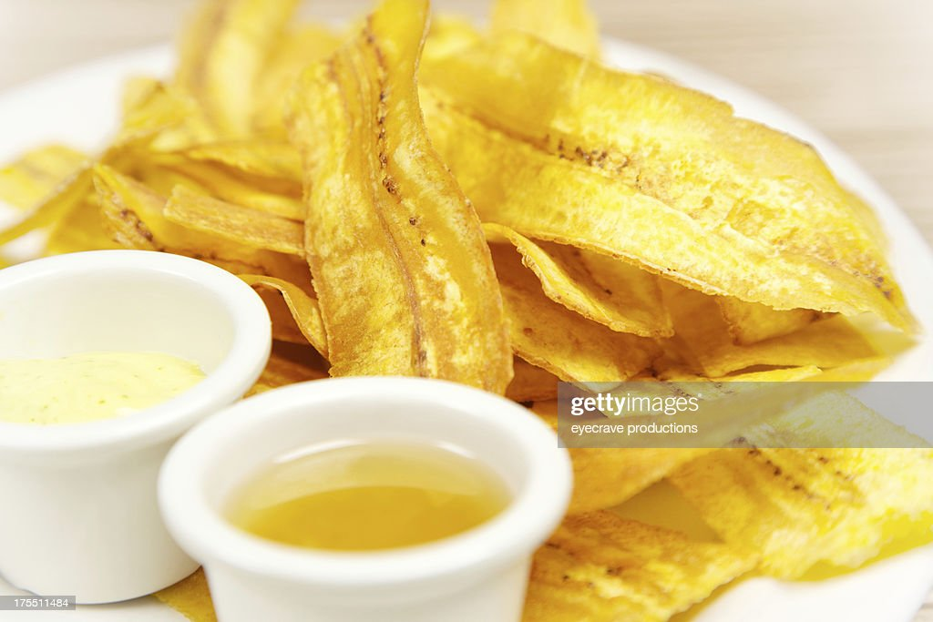 Homemade Plantain chip strips and dipping sauce