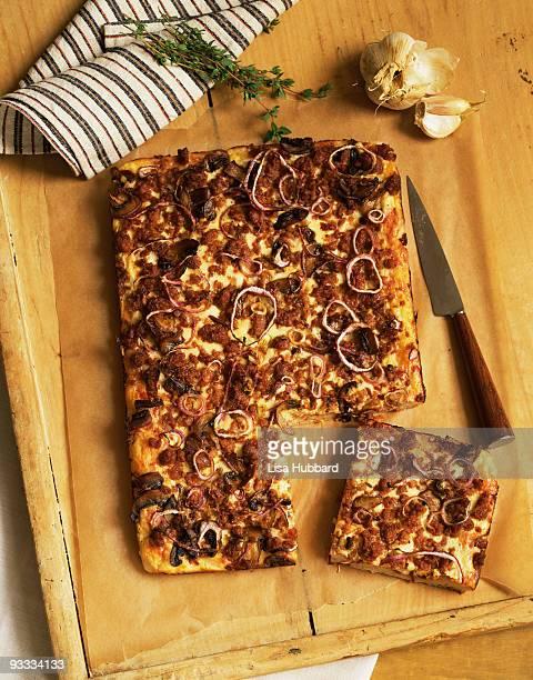 Homemade sausage and mushroom pizza