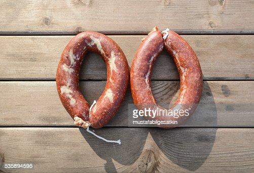 homemade sausage : Stock Photo